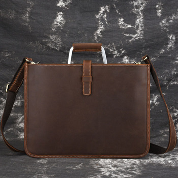 BULLCAPTAIN Crossbody Bags Men Bag Handbags Fashion Crazy Horse Genuine Leather Casual Tote Shoulder Bag Handbag Briefcase