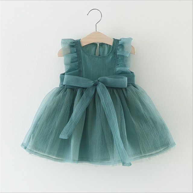 New Fashion Dresses Formal Newborn Wedding Dress Baby Girl Bow