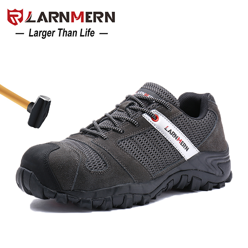 LARNMERN Mens Steel Toe Work Safety Shoes Lightwieght Breathable Anti smashing Anti puncture Construction Protective Footwear