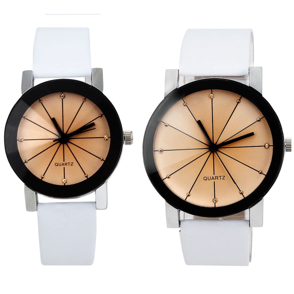 2016 Fashion Hot  Sale Men and Women Watches White Leather Band Analog Quartz  WristWatch Lover's watches