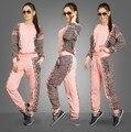 2016 Europea/América impresión costura de encaje de moda casual traje de dos piezas patchwork rosa chándales sudaderas pantalones