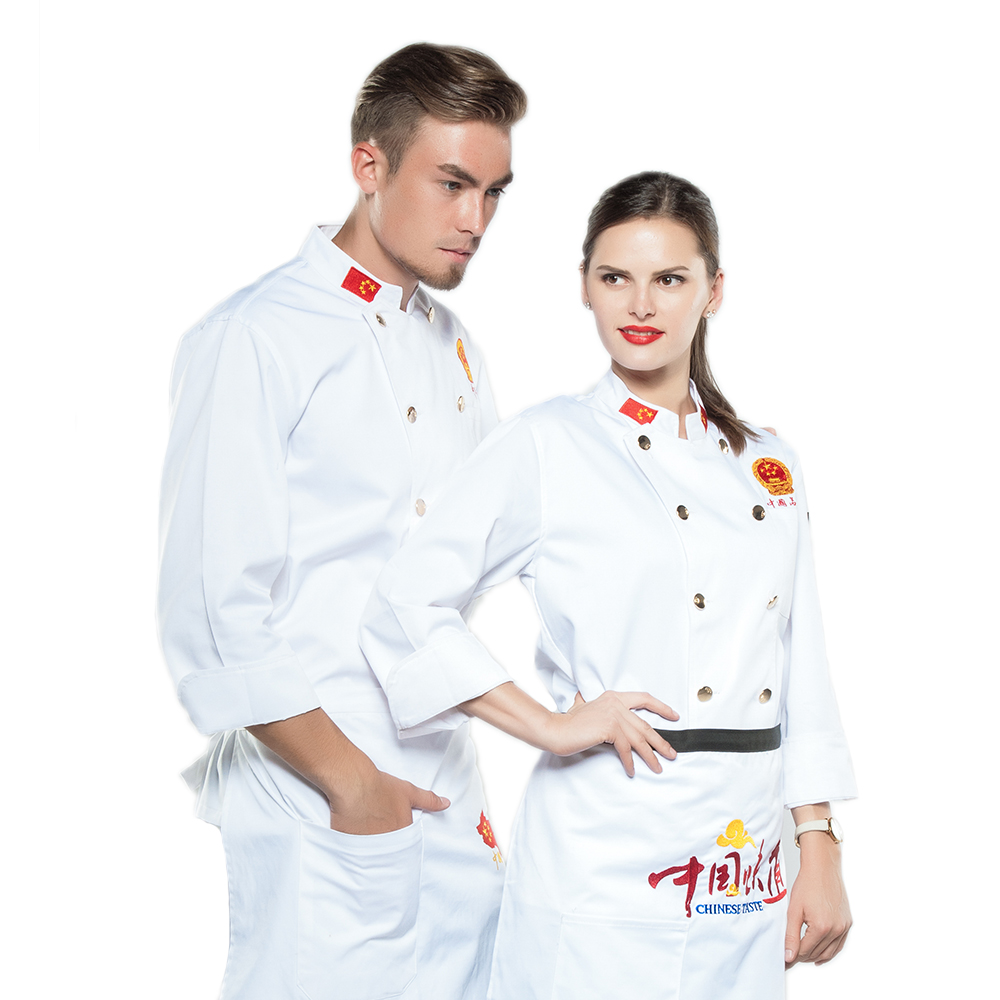 New Style National Flag White Chef Jacket Uniforms Long Sleeve Hotel Cook Clothes Food Services Frock Coats Work Wear Coat