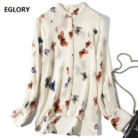 Butterfly Shirt 2019 Spring Summer Top Quality Silk Shirt Women Asymmetrical Style Long Sleeve Casual Plus Size Blouse Female