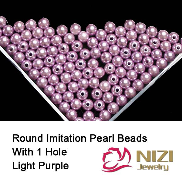 Imitation Pearls Straight Hole Resin Pearls For DIY Jewelry 6mm 8mm 10mm Light Purple Round Resin Imitation Pearls 100g/bag guerlain meteorites light revealing pearls of powder 2 clair