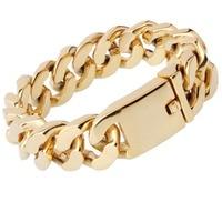 20mm 9 Cuban Chain Bracelet Men Gold Stainless Steel Curb Chain Link Bracelet Biker Hippie Hip Hop Men Jewelry Party Gifts
