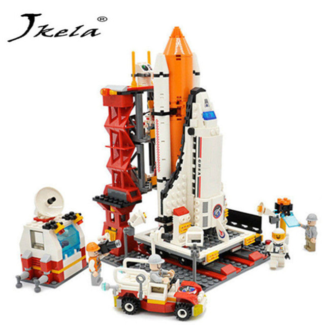 [Jkela] 679pcs City Spaceport Space Shuttle Bricks DIY Building Blocks Sets Educational Compatible with Logoingly gift toys spacerail diy physics space ball rollercoaster with powered elevator 26000mm rail