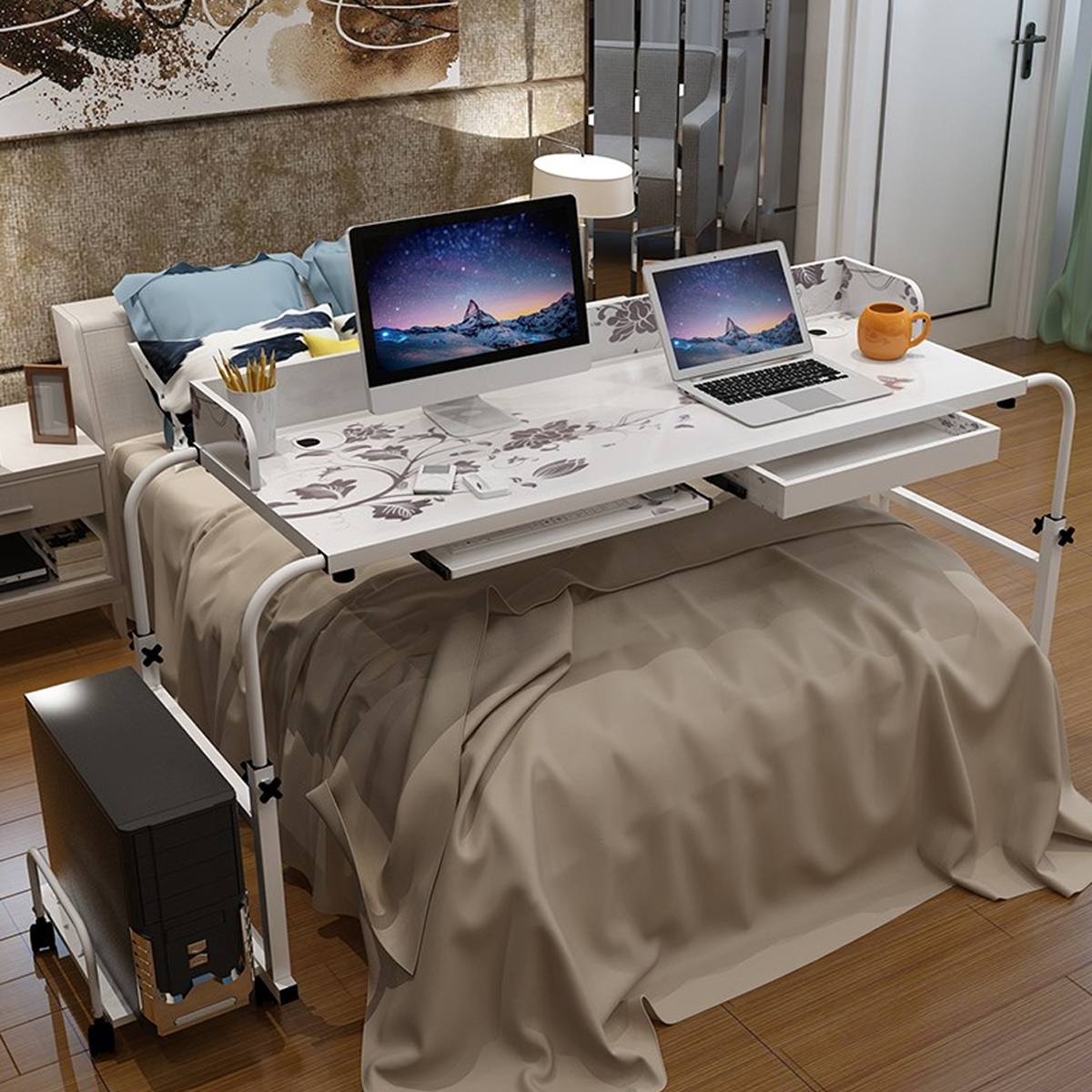 1 2m Home Rolling Adjustable Computer Desk Table Over Bed