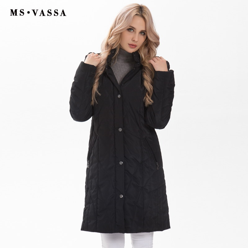 MS VASSA Ladies Parkas 2019 New Winter Spring Women fashion jacket stand up collar plus size 7XL detachable hood with fake fur