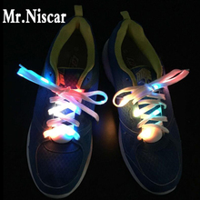 Mr.Niscar 1 Pair Light Up Fashion LED Luminous Shoelaces Night Flash Party Glowing Laces Shoe Strings for Boys and Girls 8 Color