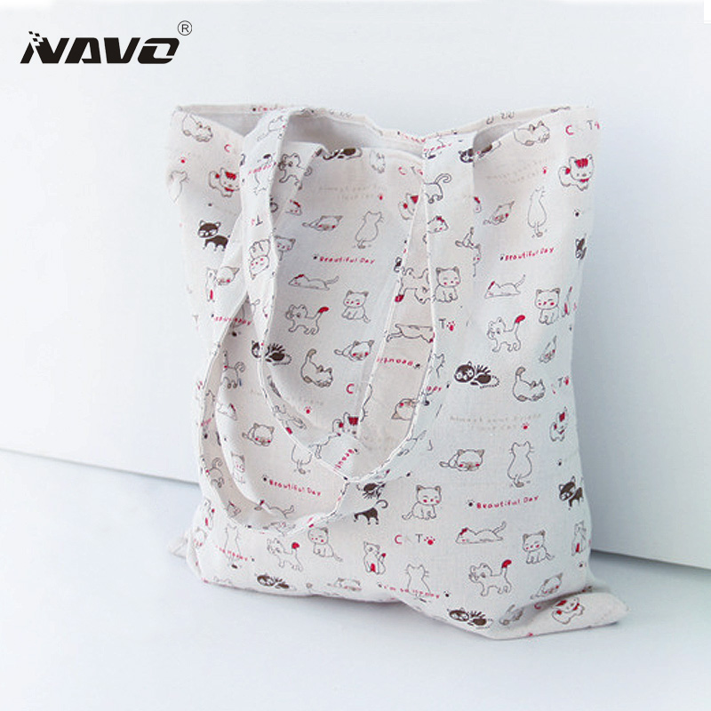 Fresh Lady Shopper bag Fashion Cartoon Cute Cat Printing Women Cotton Shoulder Tote Handbags Mujer Bolsa Top-Handle Bag сумка через плечо women bag ab961 bling shopper 2015