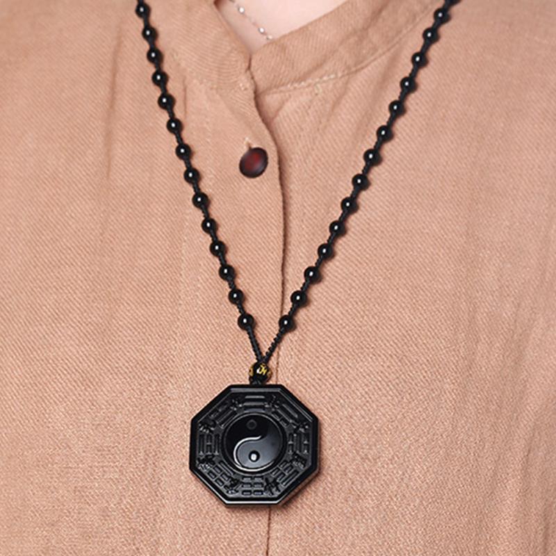 Aliexpresscom  Buy Black Obsidian Yin Yang Necklace Pendant Chinese Gossip Men Women -7205