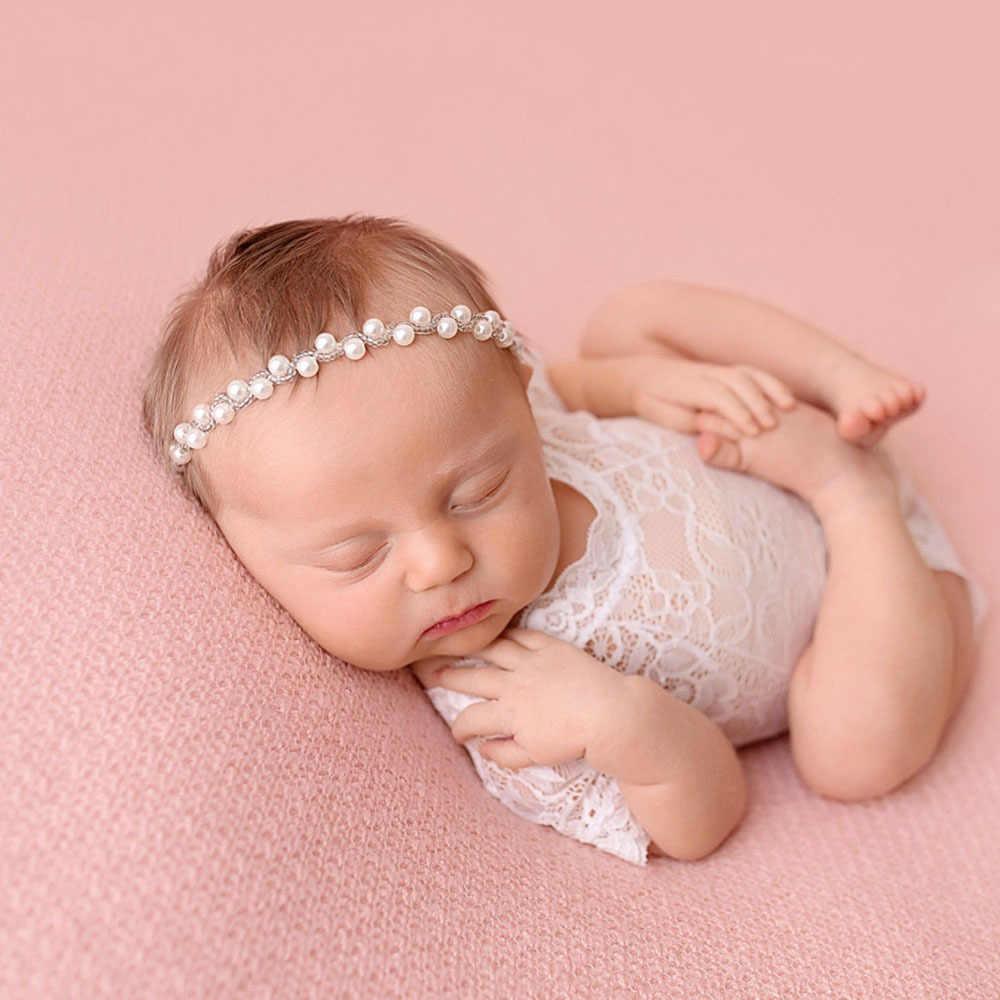 Newborn bebe Sparkling Pearls Elastic Headband Rhinestone Gold Silver Hair  Bands girls Photography Props hair Accessories 90ba25285f46