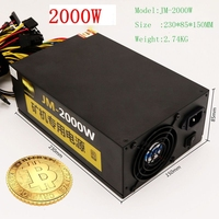Asic Bitcoin Mining Rig Ethereum Miner Rig Power Supply For Computer LTC 2000W 6 Pin PSU