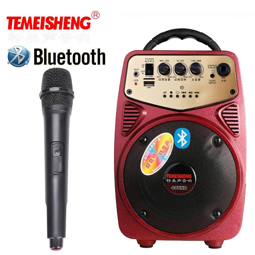 High Power Bluetooth Portable Loudspeaker With Wireless Microphone Active Amplifier Speaker For Outdoor Speakers MP3 Music Play portable professional 2 4g wireless voice amplifier megaphone booster amplifier speaker wireless microphone fm radio mp3 playing