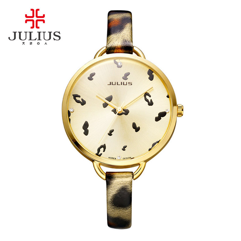 Top Julius Women's Watch Japan Quartz Fine Fashion Hours Lady Clock Leather Bracelet Retro Leopard Print Girl's Birthday Gift real functions julius shell women s watch isa mov t hours clock fine fashion bracelet sport leather birthday girl gift box