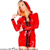 Red With Black Trims Decoration Sexy Latex Dress With Hoodies Zip Front Rubber Pencil Dress Bodycon Playsuit LYQ 0054