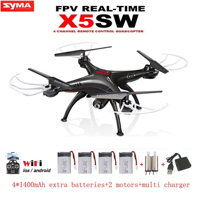 SYMA X5SW RC Drone with Camera WIFI FPV Real Time Remote Control RC Helicopter Quadcopter(X5C Upgrade) Dron with 5 Batteries rc selfie quadcopter drone with camera wifi hd 5 0mp 1080p fpv drones remote control helicopter drone camera dron x21p