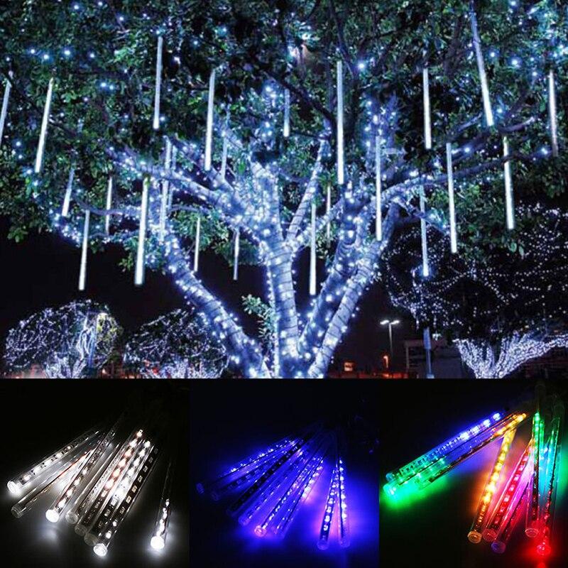 30cm Led Lights Meteor Shower Rain 8tube Xmas Tree Outdoor Square Hotel Decor Light Eu Plug Cahaya