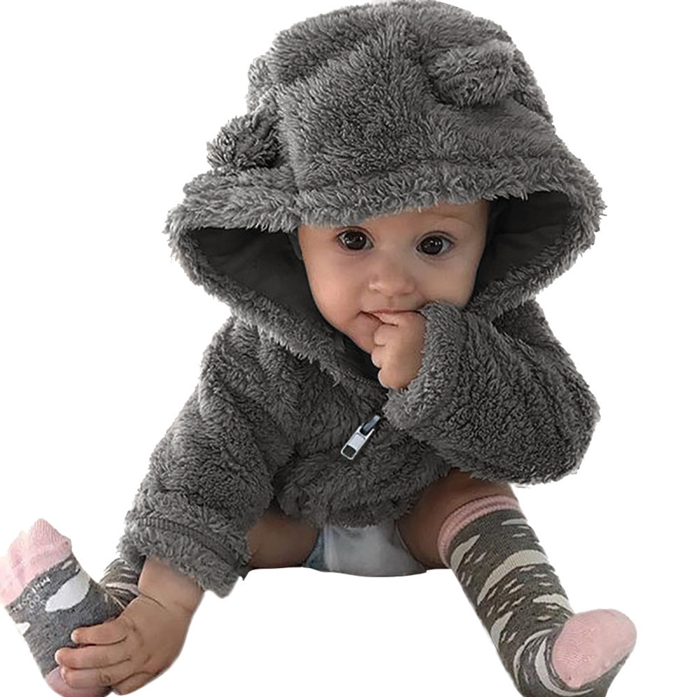 Toddler Baby Boys Girls Fur Hoodies Winter Warm Coat Jacket for newborn infant Cute outwear clothes #TX4