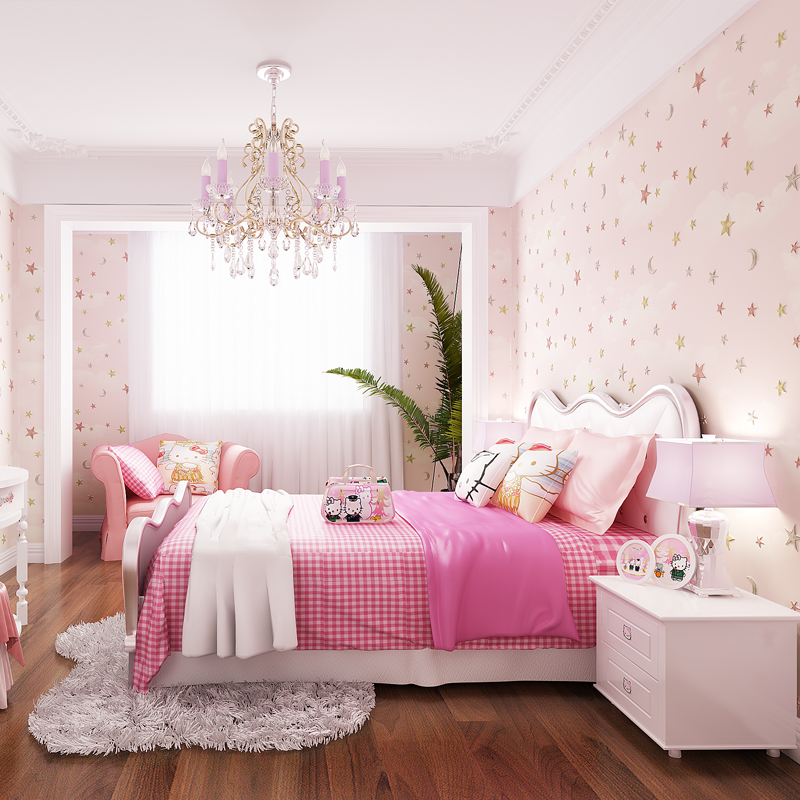 Children S Bedroom Wallpaper 3d Cartoon Blue Pink Star Boy S And Girl S Room Decor Wall Paper Non Woven Eco Friendly Wallpapers Wallpapers Aliexpress