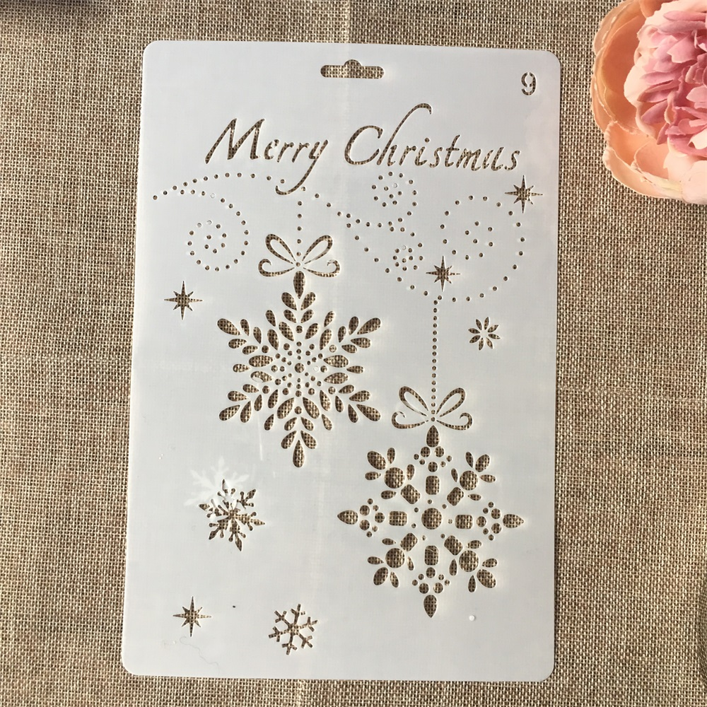 Hot 26cm Christmas Snowflake DIY Craft Layering Stencils Wall Painting Scrapbooking Stamping Embossing Album Card Template
