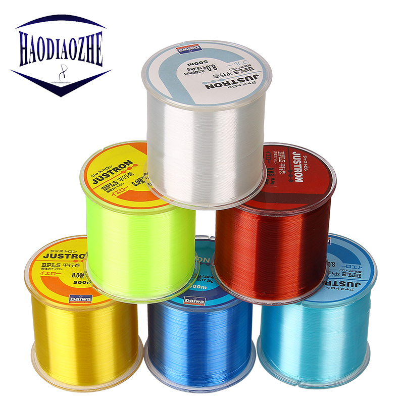 HAODIAOZHE Fishing Line Nylon Line 500m Super Strong Daiwa Nylon Monofilament Fishing Line 2LB-35LB 6 Colors Japan Fishing YU342