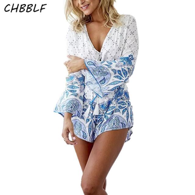 Europa Impressão Rayon Mulheres Jumpers E Macacão Feminino Playsuits Casuais Shorts Soltos Moda Bodysuits Lf2522
