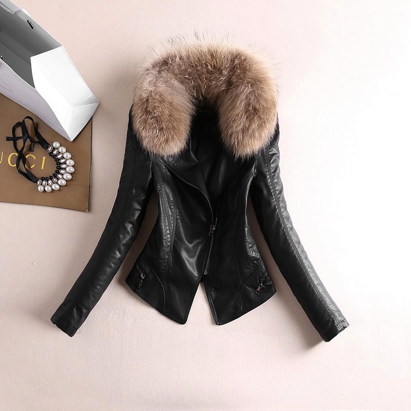 Autumn Winter Thick Washed PU Faux   Leather   Zipper Jacket Black With Real Fur Collar Female Slim Full Sleeve Coat OL Stand Collar