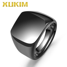 Xukim Jewelry Top Quality 316L Stainless Steel High Polished Rock Solid Biker Punk Black Mens Signet Ring