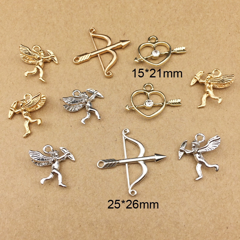 10pcs Cupid Arrow Love Shape Charms Earring DIY Material Gold Silver Tone Metal Pendants Hair Alloy Jewelry Accessories YZ117 in Charms from Jewelry Accessories
