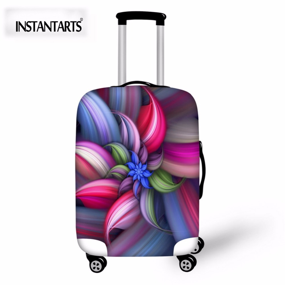 INSTANTARTS Fashion Unique Flowers Printed Luggage Protective Covers For 18″-30 Inch Suitcase Thick Elastic Stretch Trolley Case