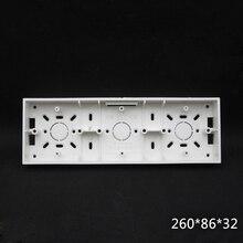 2pcs 3-Gang 86 Type Wall Mounted Switch Box Universal Switch Socket Bottom Box Mounted Wire Box 260*86*32mm Free Shipping
