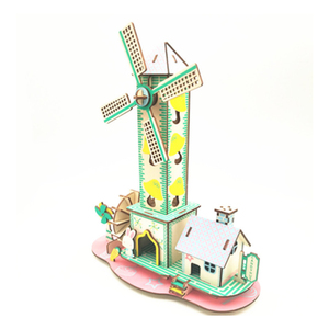 DIY Model toys 3D Wooden Puzzle-Childlike cottage Wooden Kits Puzzle Game Assembling Toys Gift for Kids Adult P25