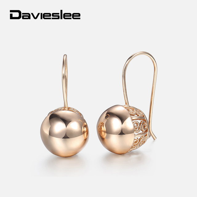 Davieslee Womens Stud Earrings 585 Rose Gold Filled Round Ball Stud Earring for Women Fashion Jewelry Snap Closure LGE66