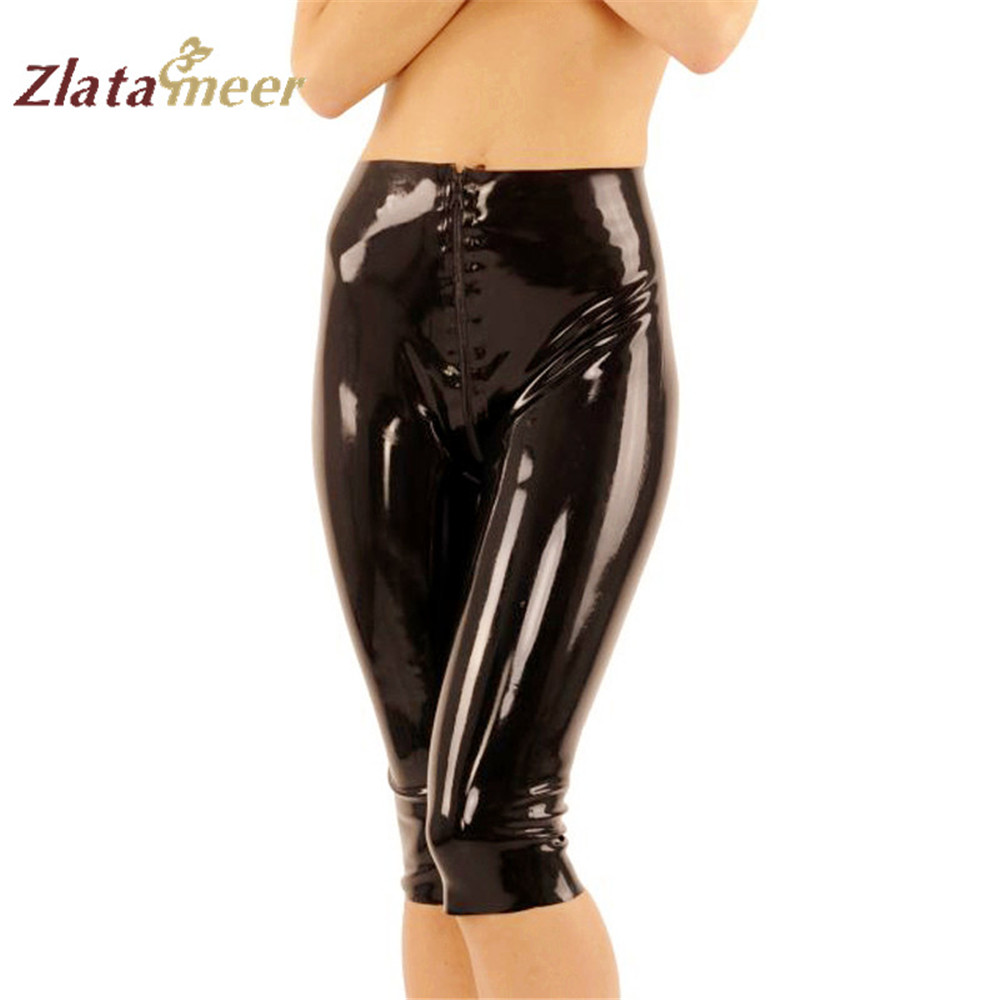 Sexy Latex Leggings Women Cropped Trousers Capri Pants Rubber Latex Leg Costumes B-LPW049
