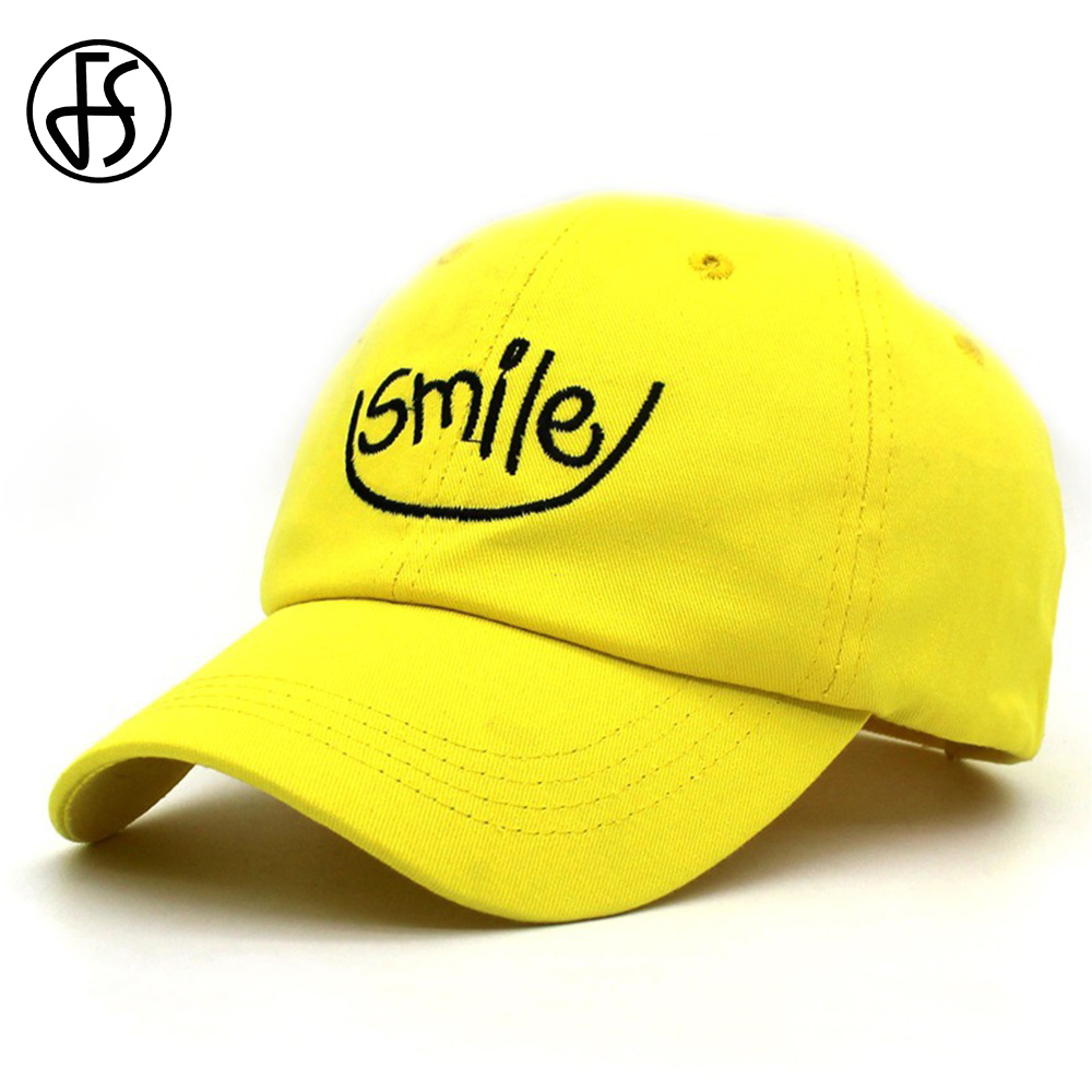 3c217d1153f FS Hip Hop Women Men Cartoon Embroidery Smiley Face Cap Baseball Streetwear  Summer Caps Snapback Hat Yellow Red White Dad Hats