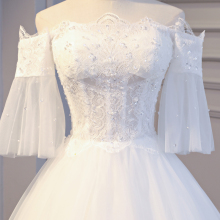 lace vintage real photo wedding dress half sleeve bridal gowm simple strapless turkey 2017 with long tail high quality crystals