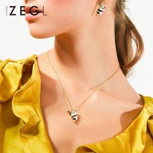 Image 2 - ZEGL tier halskette panda halskette frau anhänger schlüsselbein kette Chinesischen stil halskette hals kette