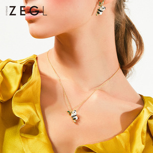 Image 2 - ZEGL בעלי החיים שרשרת פנדה שרשרת אישה תליון עצם הבריח שרשרת בסגנון סיני שרשרת צוואר שרשרת