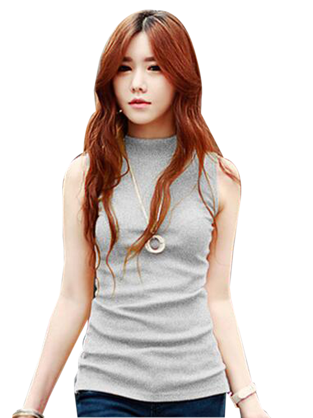 Buy Turtle Neck Bodycon Sleeve Top Korean Japanese Sleeveless Shirt Women