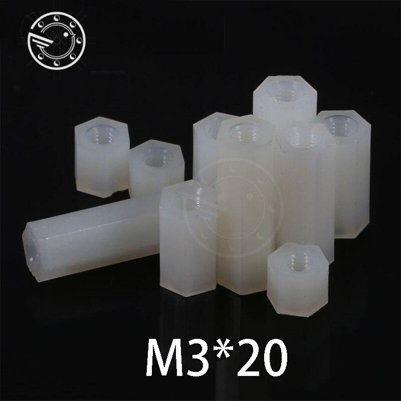 Free shipping 50pcs m3*20 mm Hex Nylon Standoff Spacer Column Flat Head Double Pass Nylon Plastic Spacing Screws NL04 m3x20 mm niko 50pcs chrome single coil pickup screws