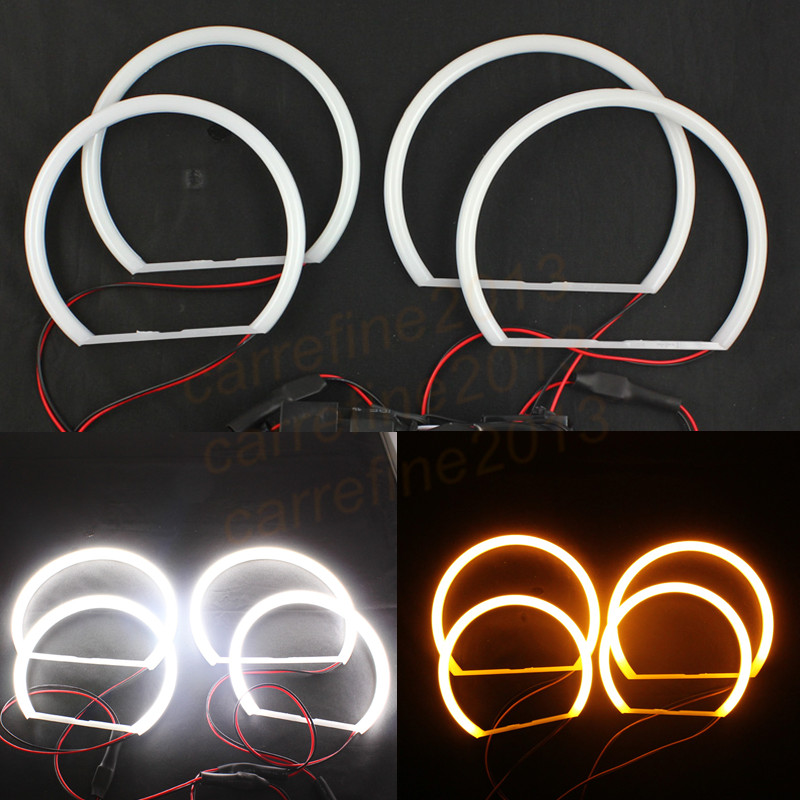 Led phare coton ange yeux halo anneau 4*131mm jaune coton ange yeux pour bmw e46 e38 e39 e36 blanc led angel eye halo anneau