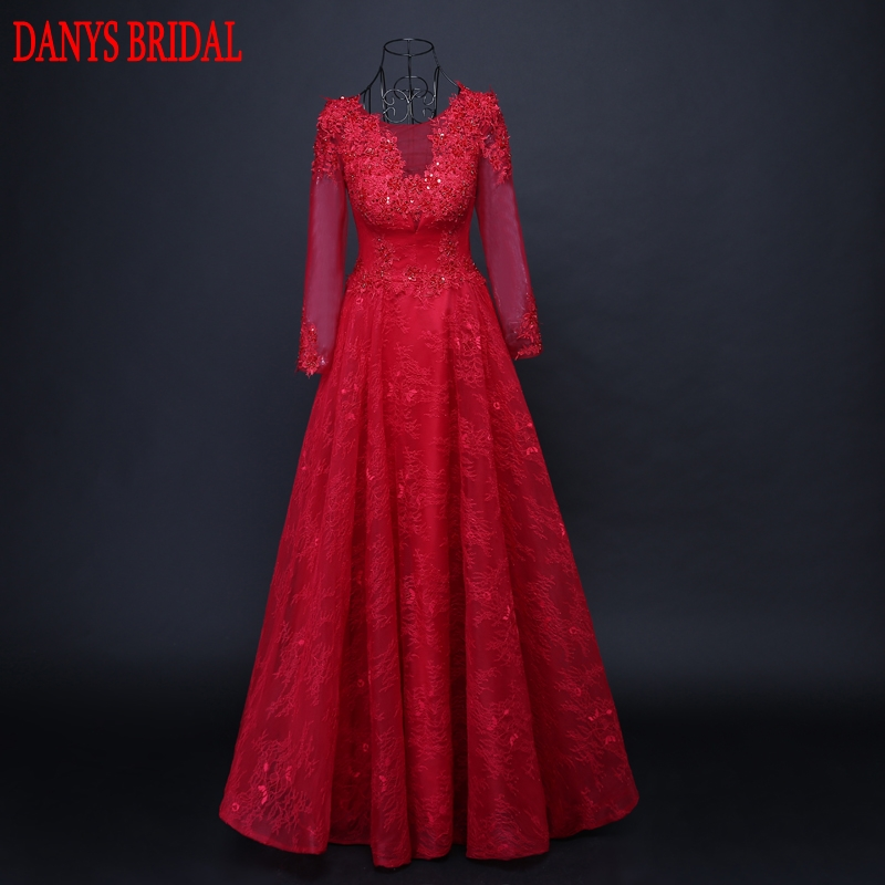 Red Long Sleeve Lace Evening Dresses Party Beaded ...