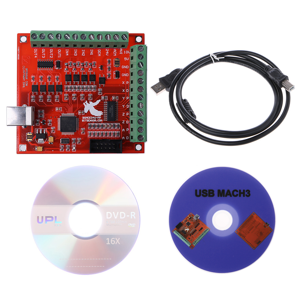 CNC USB MACH3 100Khz Breakout Board 4 Axis Interface Driver Motion Controller cnc mach3 breakout board 4 usb interface 100khz driver motion controller card with usb cable