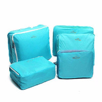5PCS Waterproof Clothes Storage Bags Packing Cube Blue Mesh Travel Luggage Organizer Bag Closet Clothing Holder