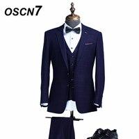 OSCN7 плед 3 предмета индивидуальные костюм Для мужчин Slim Fit Досуг настроить костюмы модные события Для мужчин s индивидуальный заказ костюм