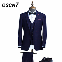 OSCN7 Plaid 3 Piece Tailor Made Suit Men Slim Fit Leisure Customize Suits Fashion Event Mens Custom Made Suit