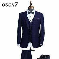 OSCN7 Plaid 3 Piece Tailor Made Suit Men Slim Fit Leisure Customize Suits Fashion Event Mens Custom Made Suit