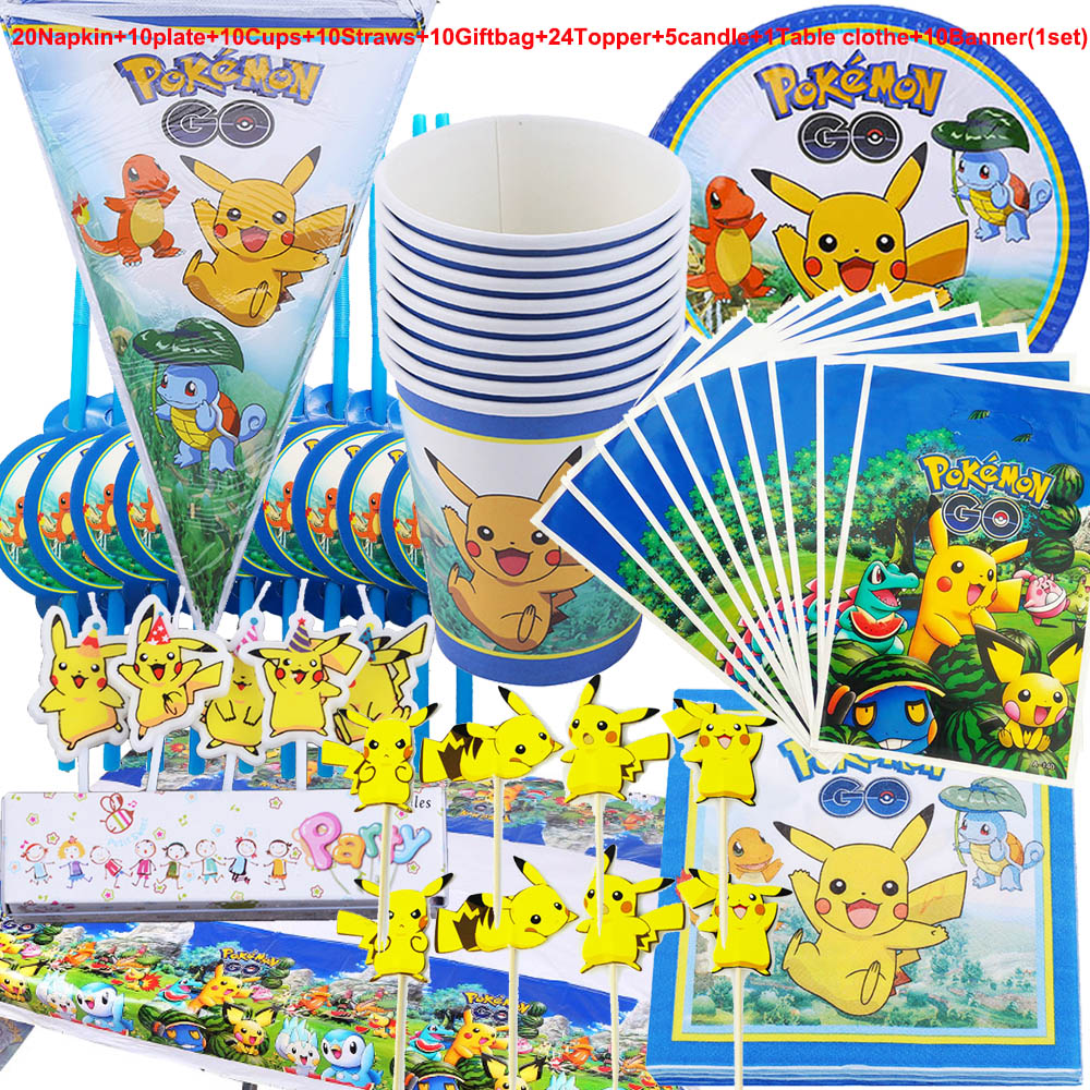100pcs Pokemon Go Pikachu Kids Girls Birthday Party Decorations Plates Paper Cups Tablecloth Flags Package Party Supplies