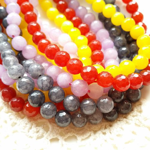 8MM (red/black/yellow/purple) Natural Stone Bead Round Brilliant Shape Loose Strands Jewelry Beads